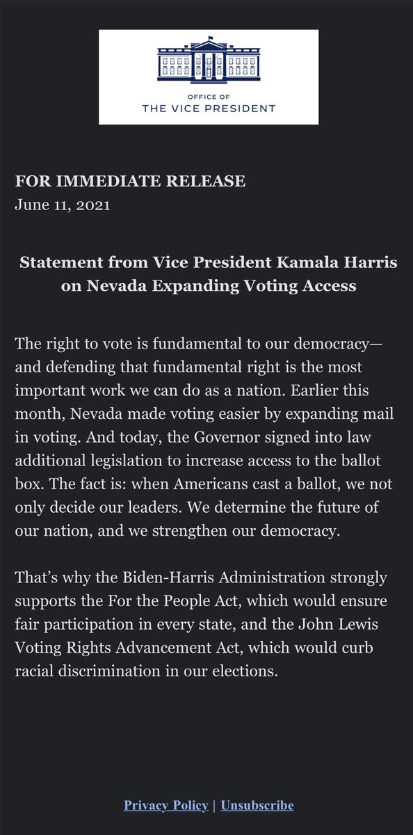 New on Voting Rights:   Today, along with advocates and legislators, @GovSisolak signed into law five more bills that would expand voting access for Nevadans.   Statement from @VP Harris below: https://t.co/Bvqf1Rh6Wo