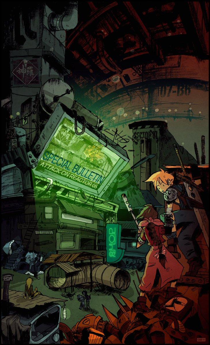 Fan art   Final Fantasy VII - Back in Sector 07  Artist: @cabtastic https://t.co/yvNKyxP2NE