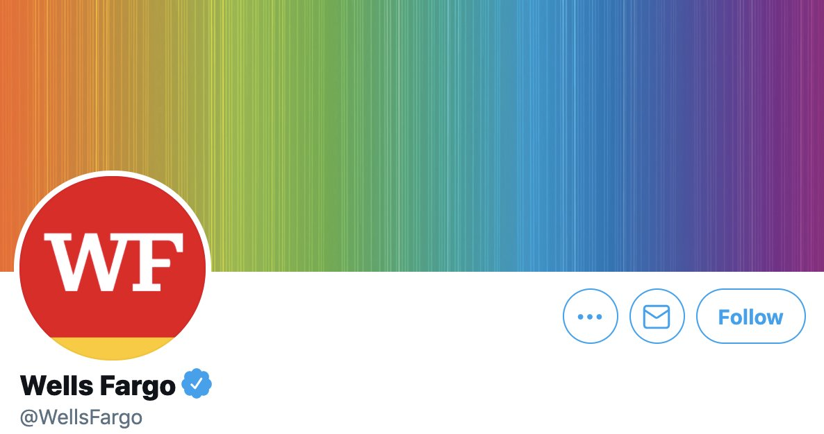LOVE this rainbow banner that 🌈Wells Fargo🌈 is sporting for Pride month! Don't love that they gave $69,000 to Mitch McConnell and other GOP Senators who are blocking the Equality Act. https://t.co/QAEc5IXAny