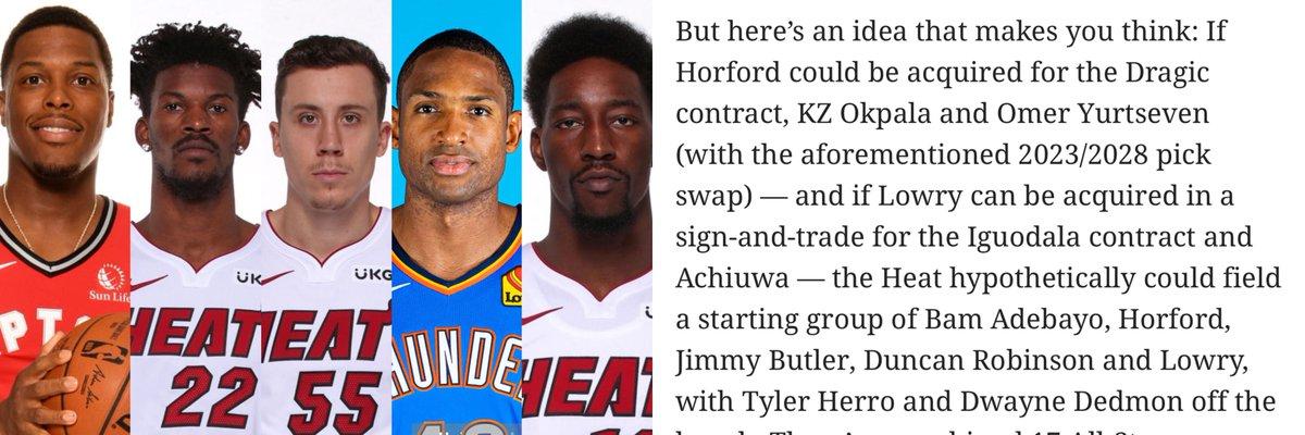 Barry Jackson's lineup idea:   Kyle Lowry  Jimmy Butler  Duncan Robinson  Al Horford  Bam Adebayo   Thoughts ?   (Via The Miami Herald) https://t.co/5pHyOU5Sla