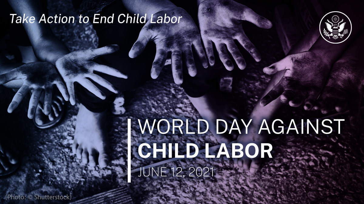 2021 is the international year for the elimination of child labor. On this World Day Against Child Labor, the Department continues to monitor and report on child labor and forced child labor, including our annual Human Rights Report and Trafficking in Persons Report. #WDACL #HRR https://t.co/X9qPRt1cic