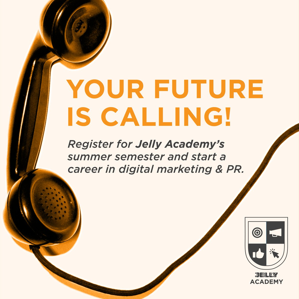 RT @dariankovacs: Pick up the phone - digital marketing opportunities are calling!   Our summer semester of @jellyacademy is coming up soon. Don't let this call go to voicemail - sign up here: https://t.co/KXiSQ9Olum  #JellyAcademy #marketing #education https://t.co/GLUXDan1me