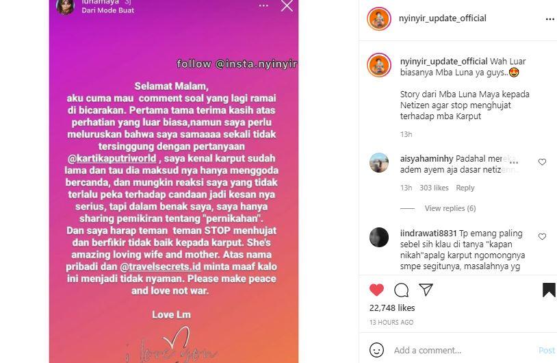 Klarifikasi Luna Maya soal pertanyaan pernikahan yang diajukan oleh Kartika Putri.