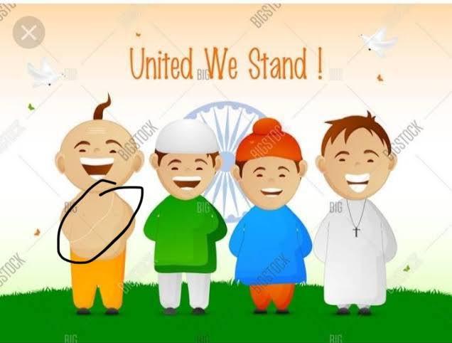 """""""हिंदू, मुस्लिम, सिख, ईसाई, आपस में सब भाई भाई"""" की जिन इमेज और फ़ोटो को देखते हुए हम सब बड़े हुए हैं, जो कई बार स्कूल की किताबों में भी होती है और विज्ञापनों में भी, वह बेहद समस्यामूलक है।   इन तस्वीरों में लगभग 80% भारत नज़र ही नहीं आता।  क्या इन तस्वीरों में आप हैं? https://t.co/0JT2SAX58V"""