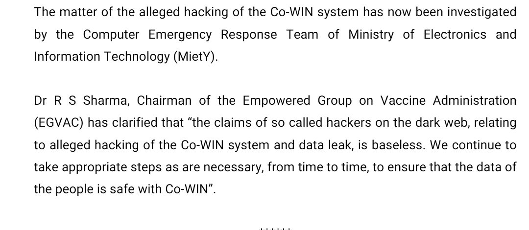 """#BREAKING In the alleged matter of CoWIN hacking, Computer Emergency Response Team finds claims by dark web hackers """"baseless"""", said Dr R S Sharma (@rssharma3), CEO, @AyushmanNHA  #CoWinhacked #CowinPortal https://t.co/hMmHn0niz3"""