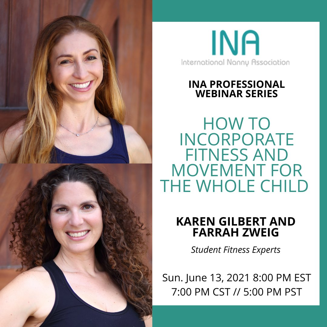 Join us for the next Webinar  - TOMORROW! How to incorporate Fitness and Movement for the Whole Child When: Sunday June 13, 2021 8:00 PM EST // 7:00 PM CST // 5:00 PM PST This Webinar is free to INA Members and $25 for non-members.  REGISTER HERE https://t.co/V1c2HD5RCp https://t.co/hCyZosySLy