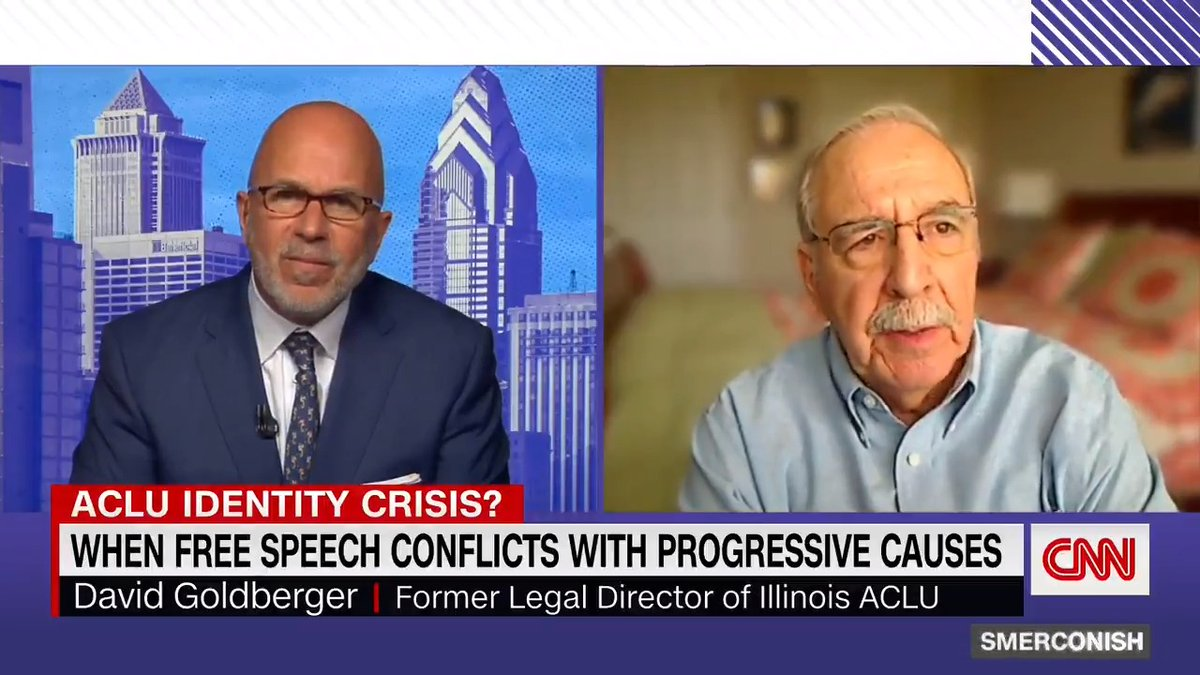 """The ACLU's mission should be to uphold """"basicconstitutional principles,"""" David Goldberger, former legal director of the Illinois ACLU, tells @smerconish. """"The law applies equally to everyone, nomatter who they are, no matter their identities, no matter how offensive theyare."""" https://t.co/Qo1kELrLCg"""