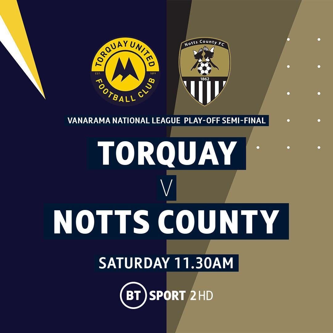 Torquay take on Notts County today in the @TheVanaramaNL play-off semi-finals! 🟡⚫️  📺 Live on BT Sport 2 HD from 11.30am https://t.co/O0UA8aHKIU