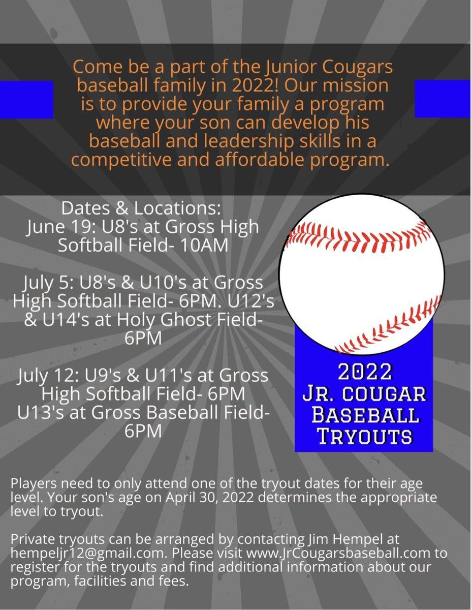 #SouthOSports: Junior Cougar Baseball Tryouts!