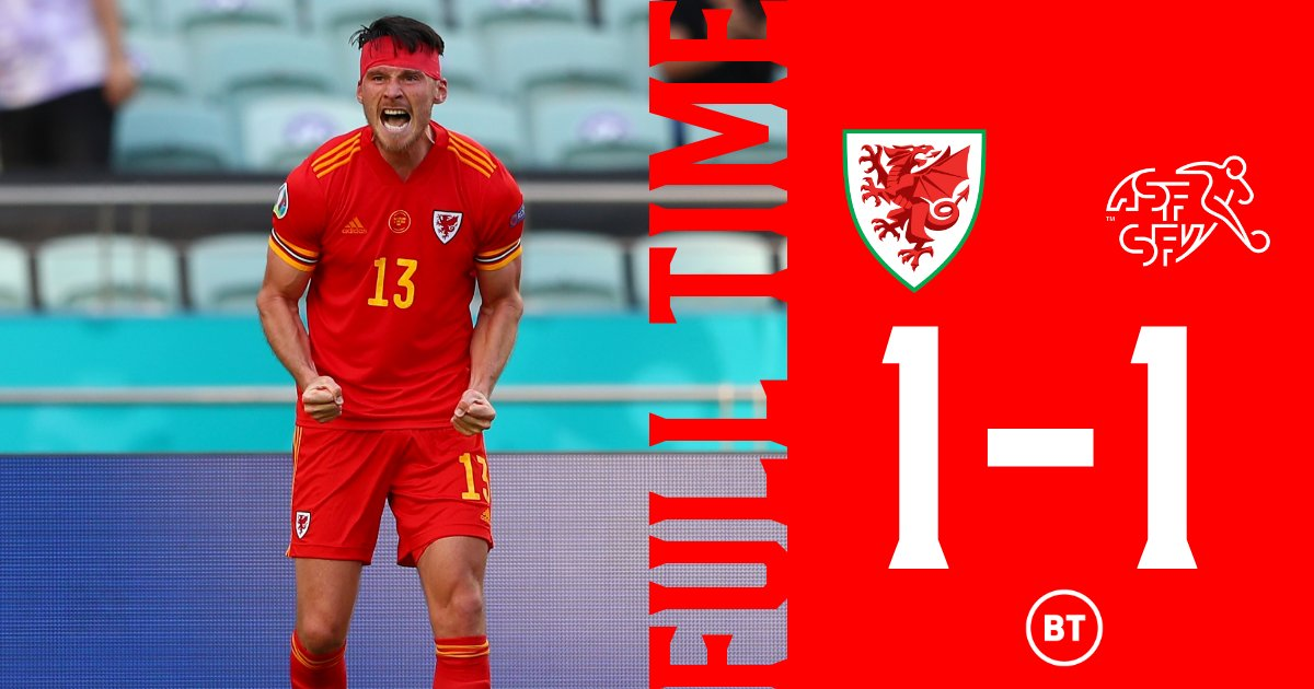 🏴 1-1 🇨🇭 SGÔR TERFYNOL  A rollercoaster of a second half! And breathe.  #WAL | #EURO2020 | #TogetherStronger https://t.co/c0HT8HPgea