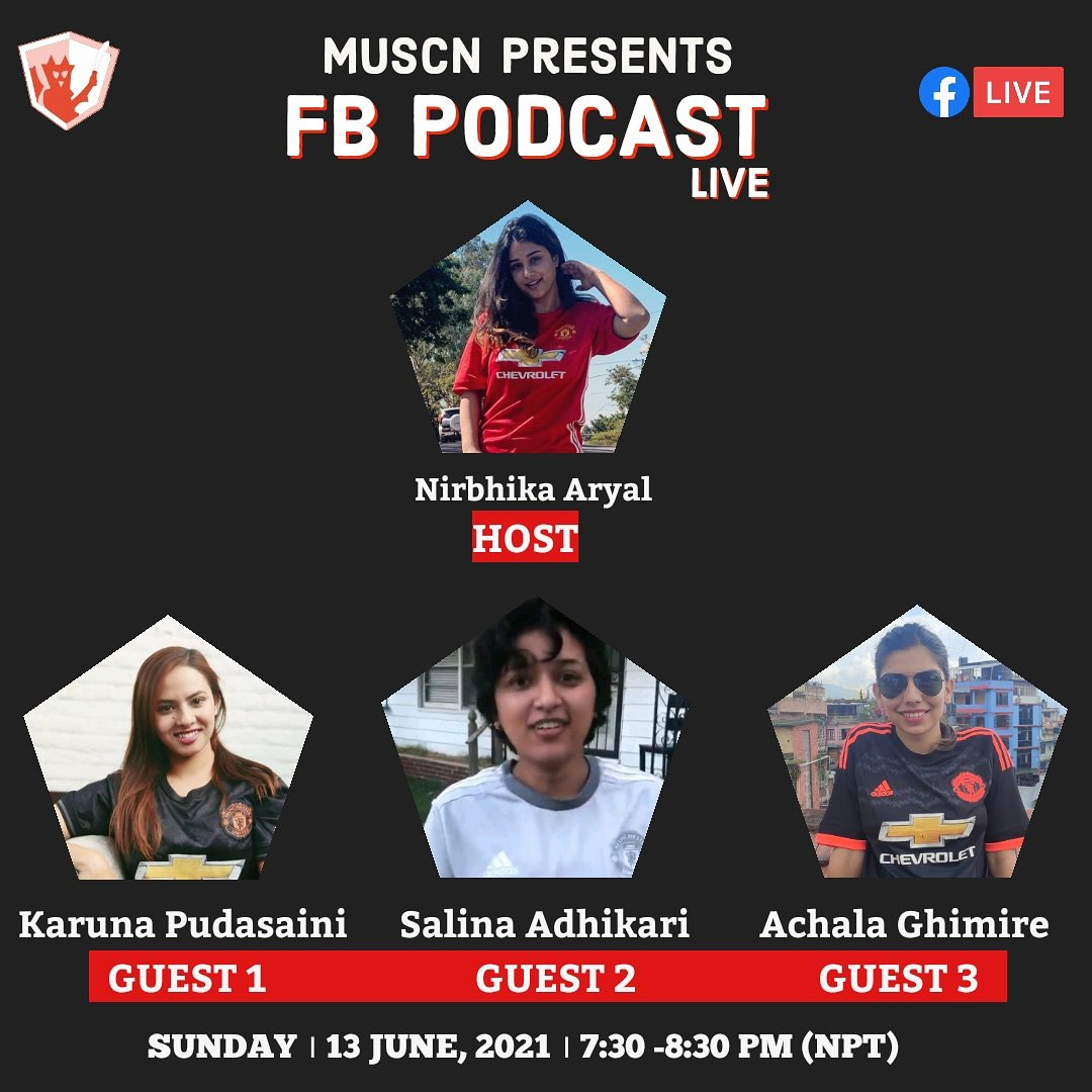 """🔴 LADIES SPECIAL PODCAST 🔴  MUSCN presents """"Ladies Special Podcast""""  We will be having 3 Red Devils Ladies for the podcast where we will talk about United, transfer rumours and many more.  📆 13th June, 2021 (Sunday) 🕢 7.30 PM (NPT) onwards  We hope many of you will be there. https://t.co/qRU41qFc3f"""