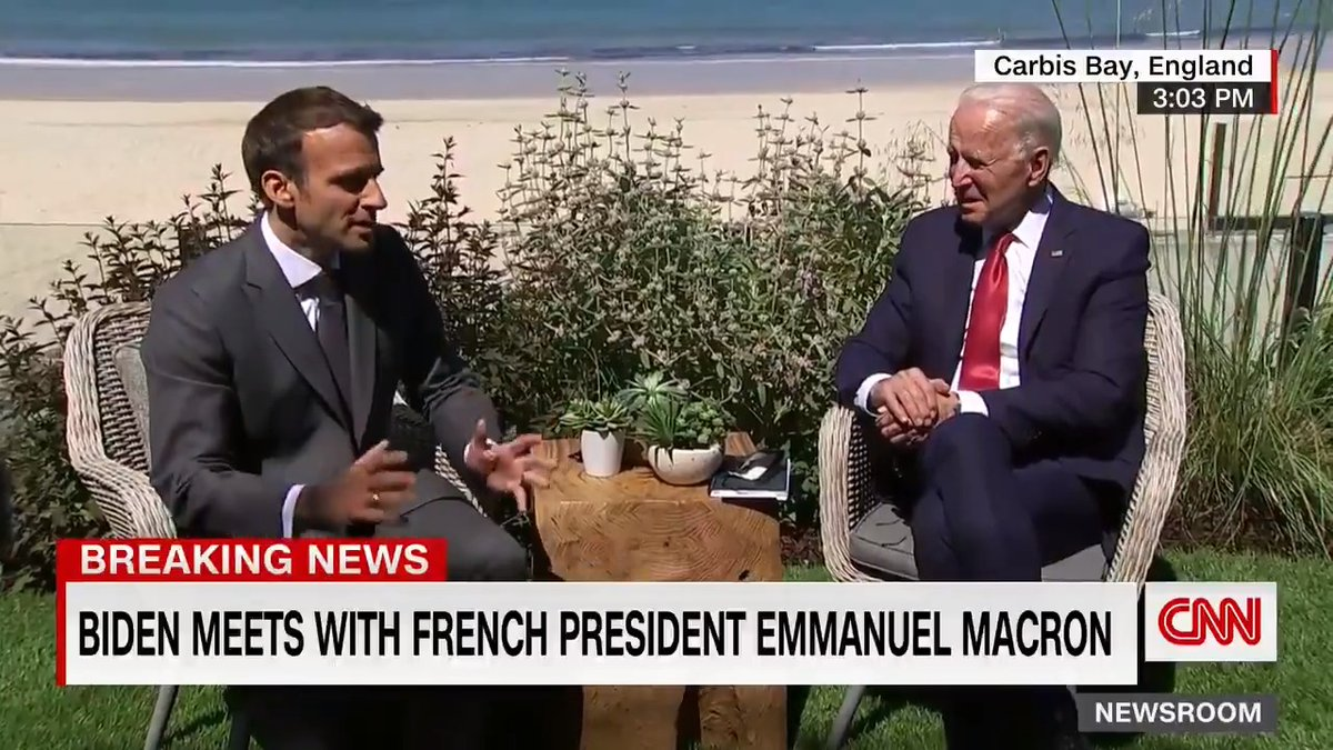"""President Biden said that he and French President Emmanuel Macron are """"on the same page"""" during a bilateral meeting at the G7 summit.  """"I think that what you demonstrate is that leadership is partnership,"""" Macron said to Biden. https://t.co/ak2dqGJLeN https://t.co/5xDwsuq6lP"""