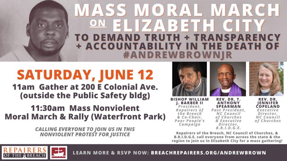 Watch live as we march & rally in #ElizabethCity for #JusticeForAndrewBrownJr  https://t.co/gGbukc1dmf @RevDrBarber  @BRepairers https://t.co/sR24Jbc3uX