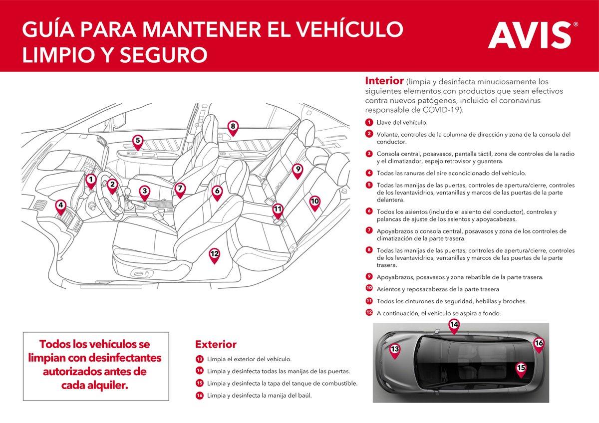 Todos nuestros #vehículos son #sanitizados antes y después de cada #alquiler. Conoce nuestra guía de #mantenimiento y #limpieza de todos los #autos. La #seguridad de los #clientes, es nuestro #compromiso. Con #Avis viaja #seguro. https://t.co/wINUZJ7aM9 https://t.co/KtWHiItCsn