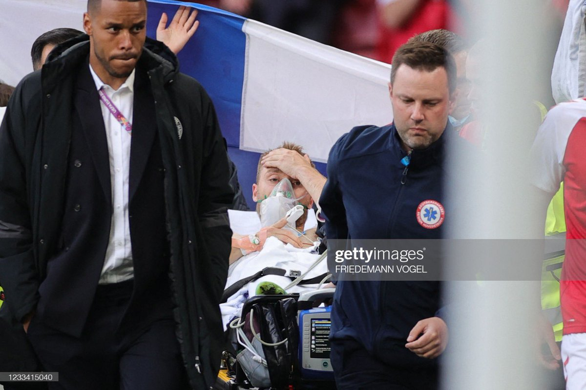 Getty Images official picture. Christian Eriksen seems conscious. All prayers and thoughts with Chris and his family ❤️🙏🏻🇩🇰 https://t.co/93PUM59ruZ