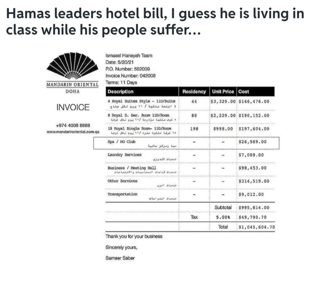"""@Roni4488 @Bobby6172 @miguellush @NKippur @DreyfusShawn @hypocoristicon1 @Dem_Bitz """"Massages"""", $26k. Hmm 🤔#Hamas leader LUX chillin' #HamasVibes at @MO_HOTELS #Doha, #Qatar (photo 1), while putting #Gaza ppl in deathly harm way (photo 2), instructing troops to 4000+ rockets indiscriminately at  cities of military power. Pure evil. A plan using Gazans as pawns. https://t.co/107NKjdDbd"""