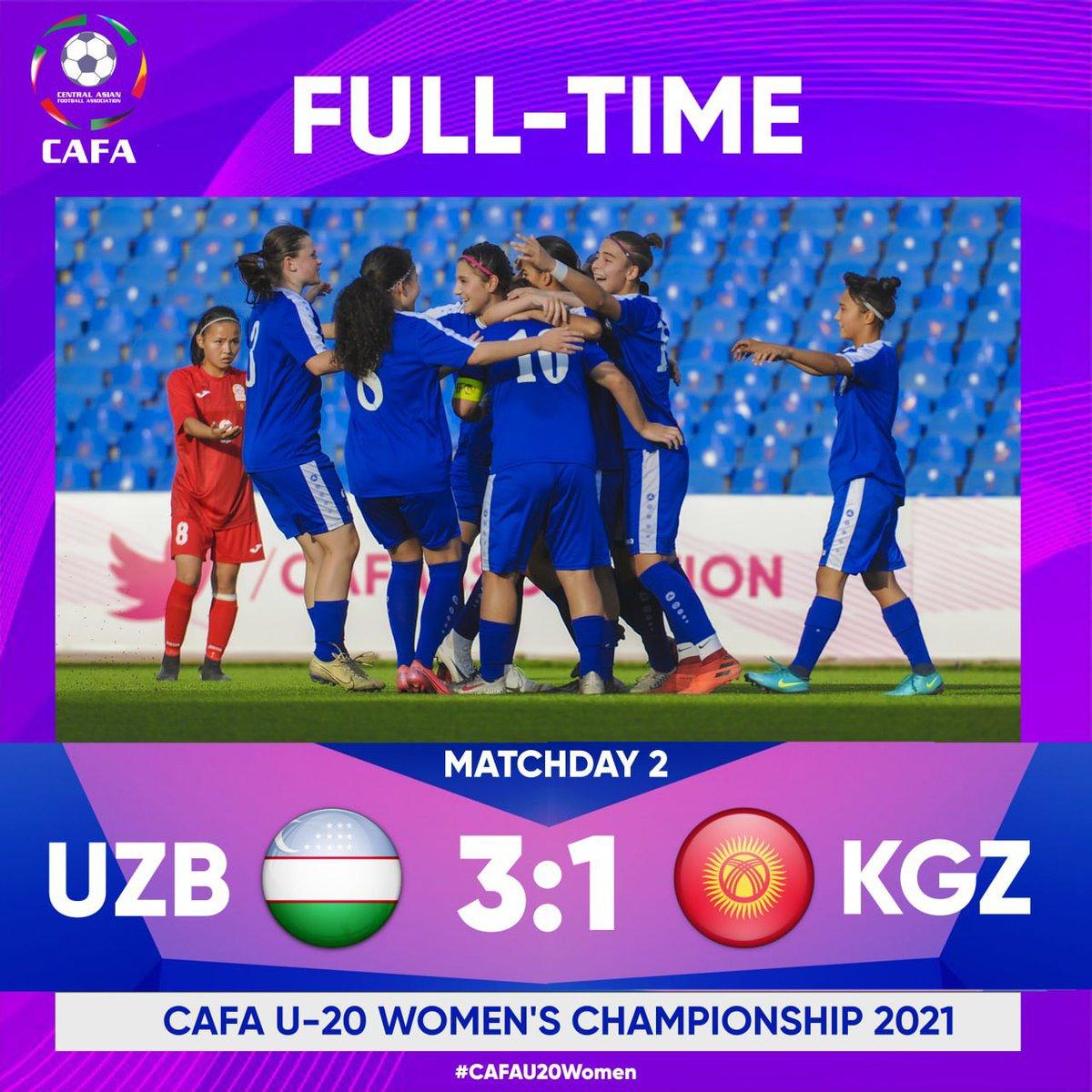 CAFA U-20 Women's Championship 2021  FULL TIME   MD 2  🇺🇿 Uzbekistan 3:1 Kyrgyz Republic 🇰🇬  @cafassociation   #CAFAU20Women #Afghanistan #Iran #KyrgyzRepublic #Tajikistan #Uzbekistan https://t.co/Ss8PvQsFMP