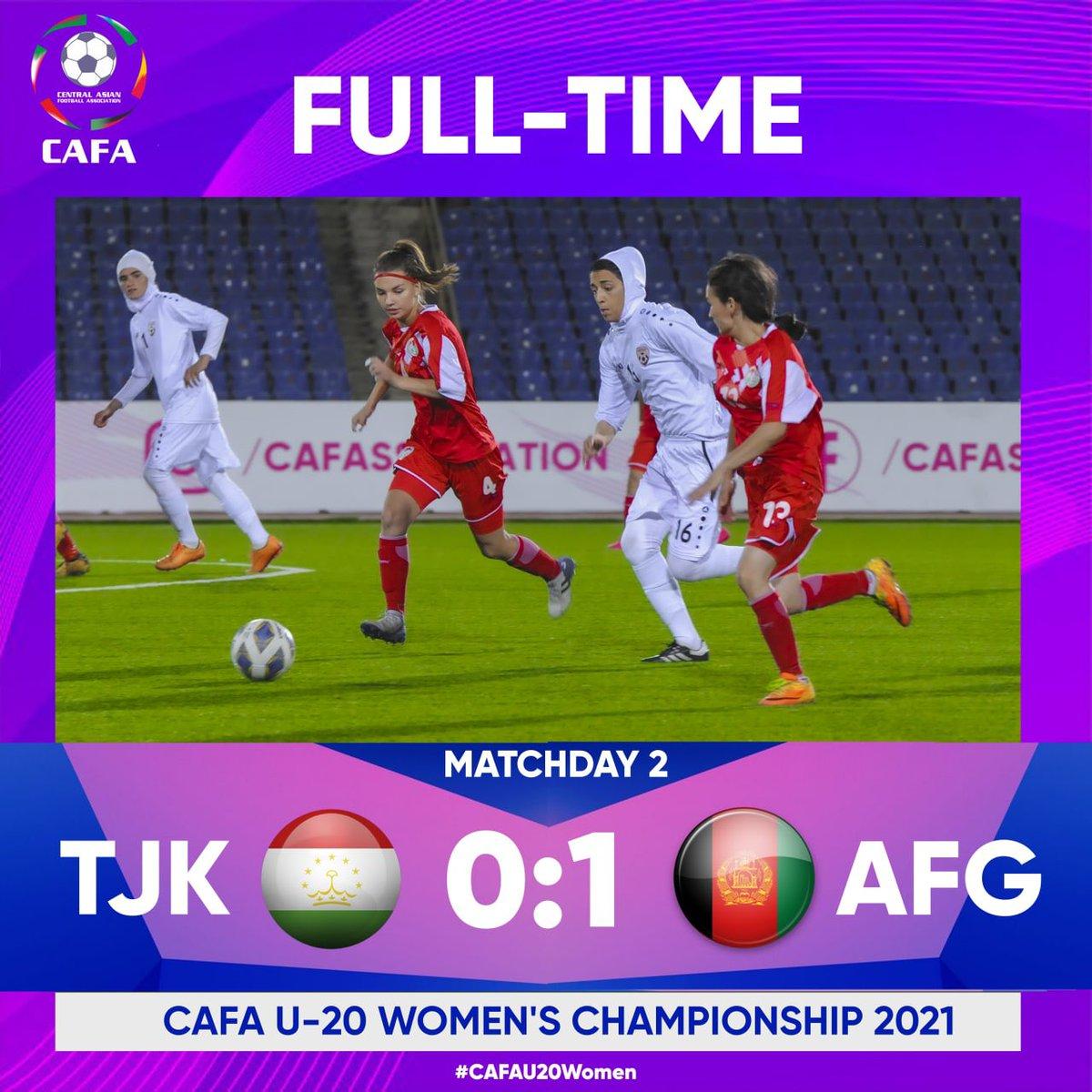 CAFA U-20 Women's Championship 2021  FULL TIME   MD 2  🇹🇯 Tajikistan 0:1 Afghanistan 🇦🇫   @cafassociation   #CAFAU20Women #Afghanistan #Iran #KyrgyzRepublic #Tajikistan #Uzbekistan https://t.co/xmITSTHYmZ