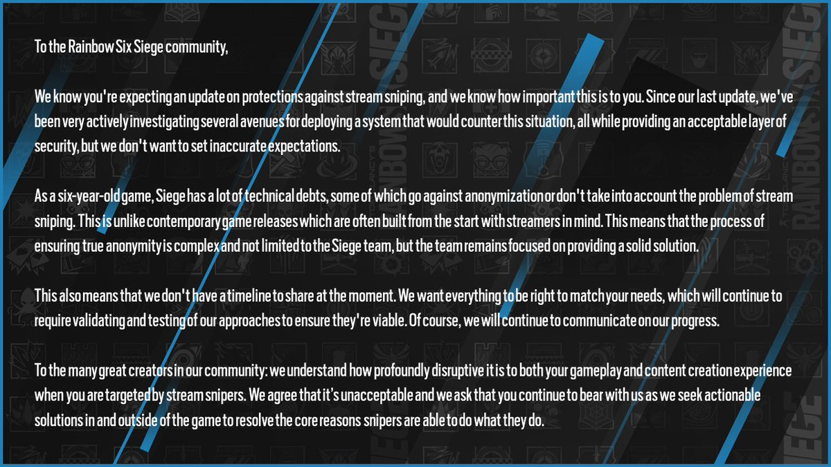 You may notice that protections against stream sniping isn't mentioned here. We'd like to share a separate update on that https://t.co/lujyAPOtps