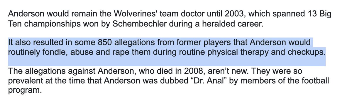 Bo Schembechler's son, others say iconic coach knew about Michigan doctor's sexual abuse https://t.co/Tv4ItooRo6 #UniversityOfMichigan #sexualassault #students #athletes https://t.co/cpzmF04B9d