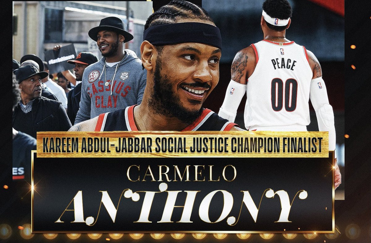 You shouldn't be awarded or acknowledged for doing things of the heart and out of obligation. But Carmelo is rarely applauded for any reason in media, so its great that hes finally acknowledged for much more than his Hall of Fame career (1/2) #SocialJusticeChampion https://t.co/axtdlUF39q
