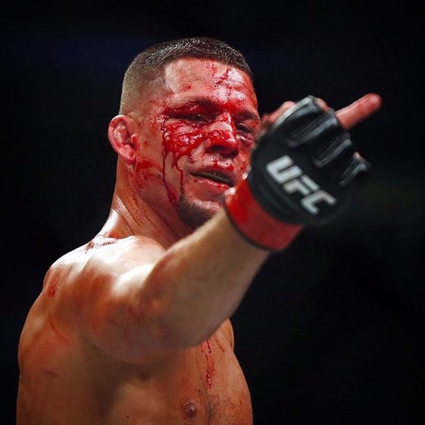 NEVER TRUST A BLOODY FACED NATE DIAZ. THAT IS BASICALLY HIM TURNING SUPER SAIYAN #UFC263 https://t.co/twqePSjZJN