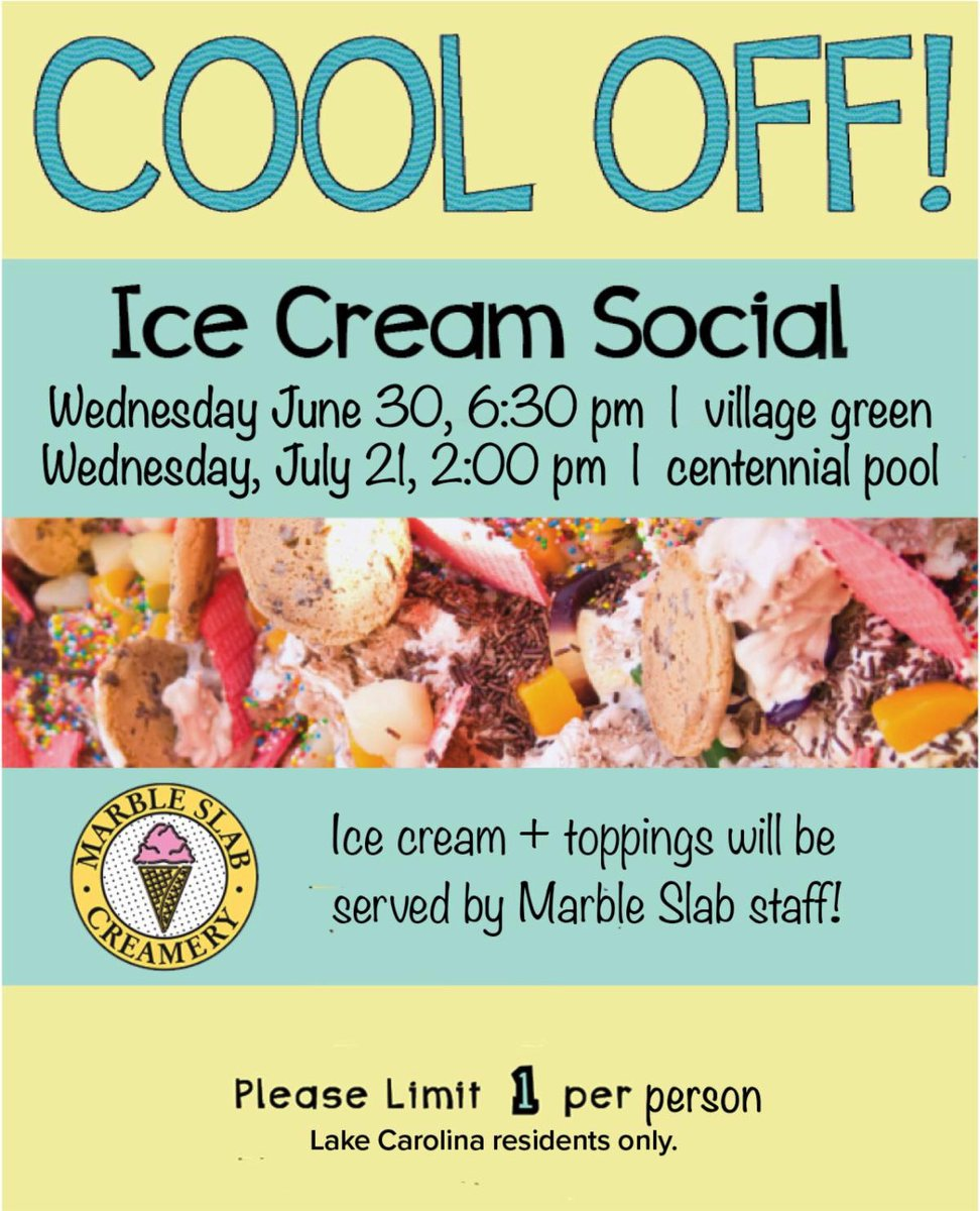 Summers are hot here in Cola, so we hope you'll take the time to cool off with us June 30 at 6:30PM and July 21 at 2PM for our Ice Cream Socials! It will be fun for the whole family, plus there's never a bad time for ice cream!  #LakeCarolina #ColumbiaSC #IceCream #IceCreamSocial https://t.co/axBgzijaw7