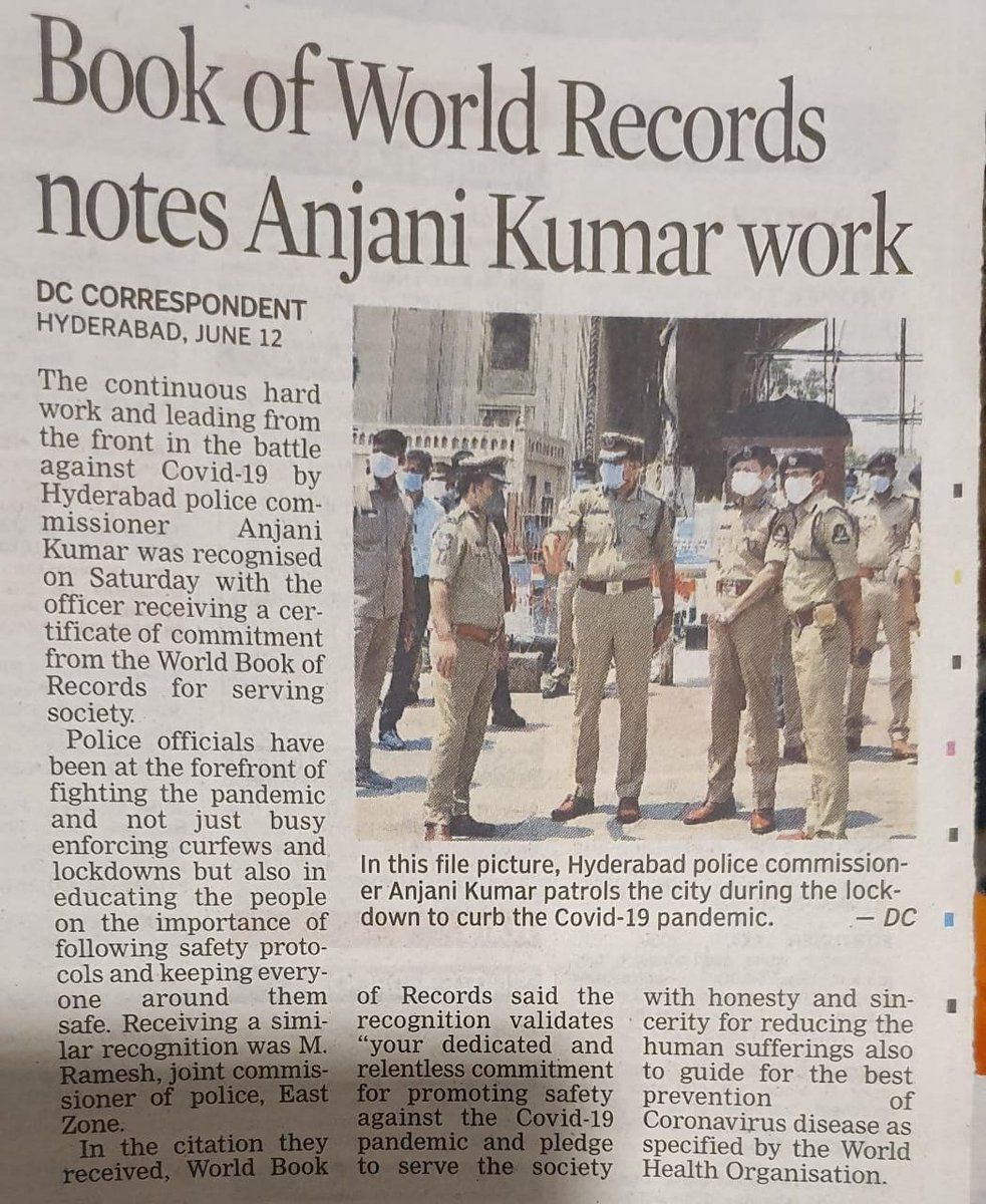 @CPHydCity #Hyderabd #Hyderabadpolice #telanganapolice  Proud moment of being in this city as super cop Mr Anjani Kumar been recognized in world records.. Hats Off to you sir for your efforts to keep us safe. https://t.co/II24rKe41t