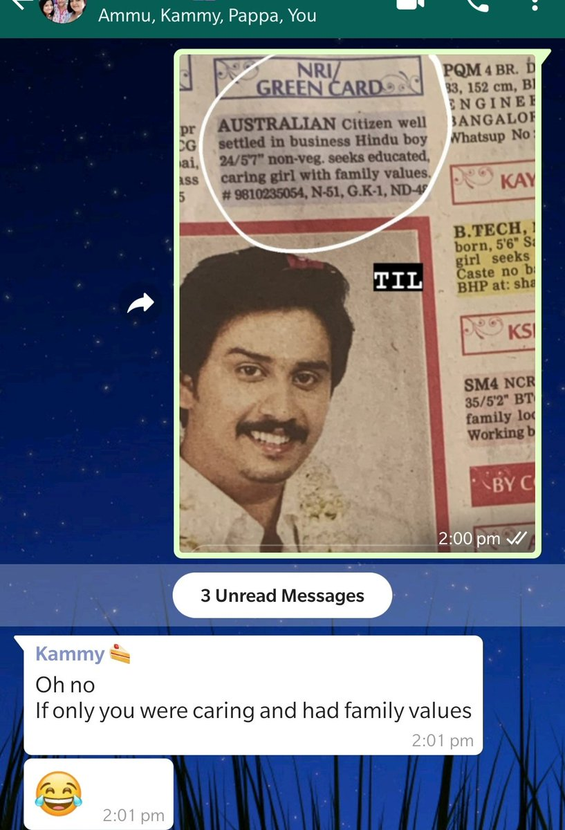 Sent a matrimonial ad in family whatsapp group and of course this is how my sister responds https://t.co/R7bq7DIAr9