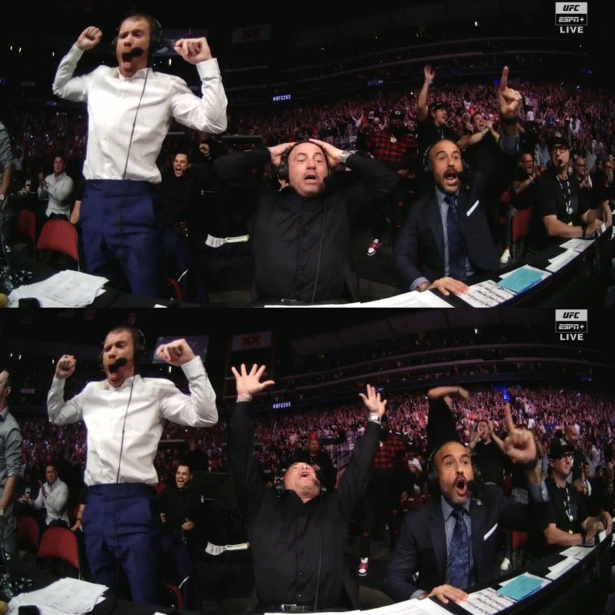 Commentary reaction to Brandon Moreno winning the belt  #UFC263 https://t.co/6AtviXf27d