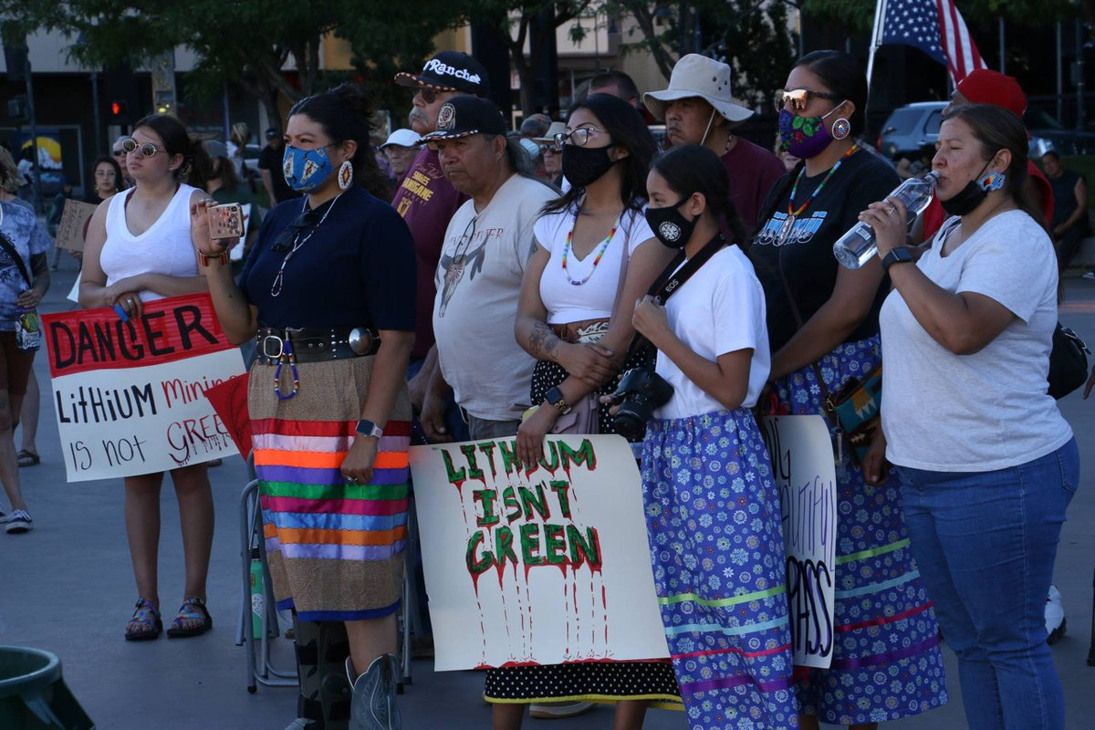 """""""Lithium Isn't Green"""" """"Mining Sucks""""100s gather in Reno to protest the proposed Thacker Pass lithium mine.  JASON BEAN,  http://RGJ.COMRead this whole Thread to the top to understand the situation around the Thacker Pass. #ProtectThackerPass  #KeepItInTheGround"""