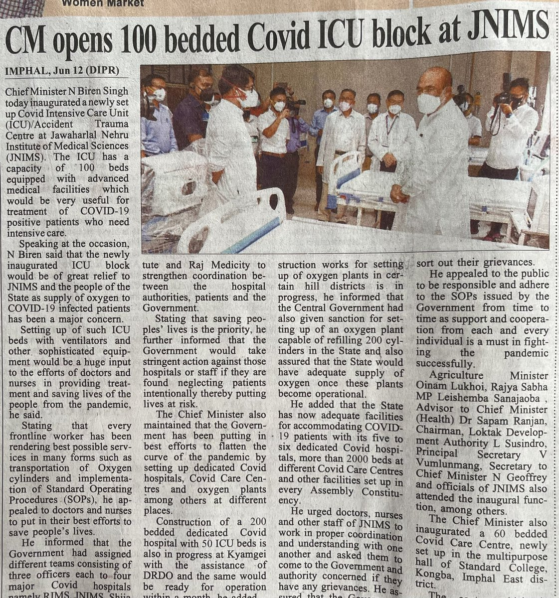 Hon'ble CM @NBirenSingh ji opens 100 bedded #COVID19 Intensive Care Unit block at Imphal https://t.co/fK4hHjlJqs will give a most advance medical facilities to the #poor patients. Jai hind @narendramodi @JPNadda @sambitswaraj @VungzaginValte @rsapam @imosingh https://t.co/PghsuBVYj5