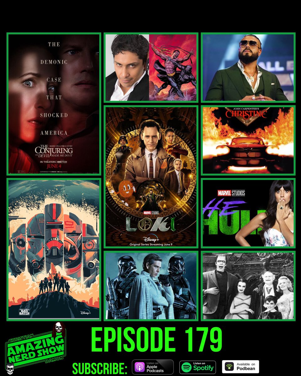 New! Ep 179! This week we breakdown the 1st episode of #Loki& review #TheConjuringTheDevilMadeMeDoIt! Plus we talk the latest in #TheBadBatch& all the #MCU #DC #horror #videogame & #AEW news! #Podcast #PodernFamily  Podbean:https://t.co/rswOmmGeQ1 Apple:https://t.co/0GYVItBWKl https://t.co/naCZ7KLPqR