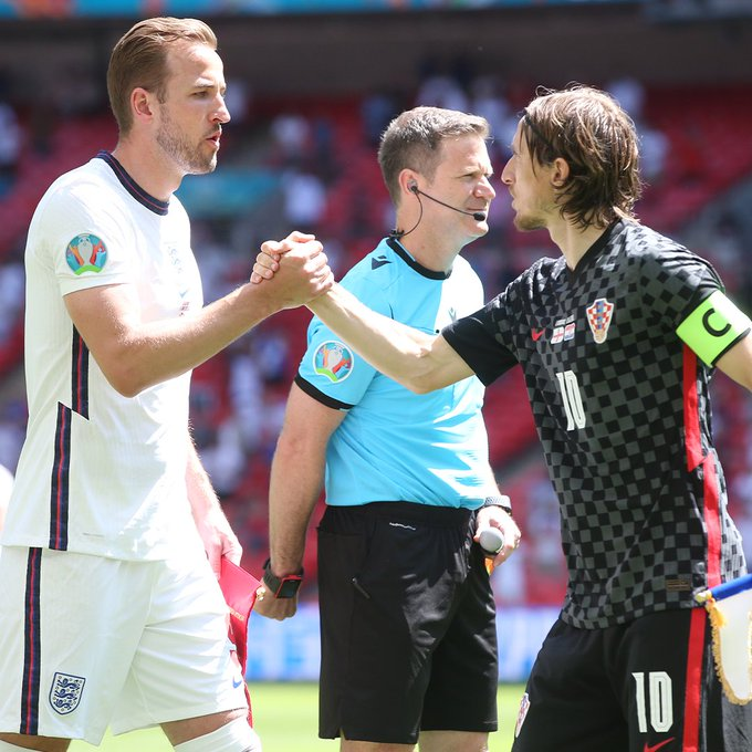 Harry Kane in action for England against Croatia as he meets former Tottenham Hotspur player, Luka Modric.