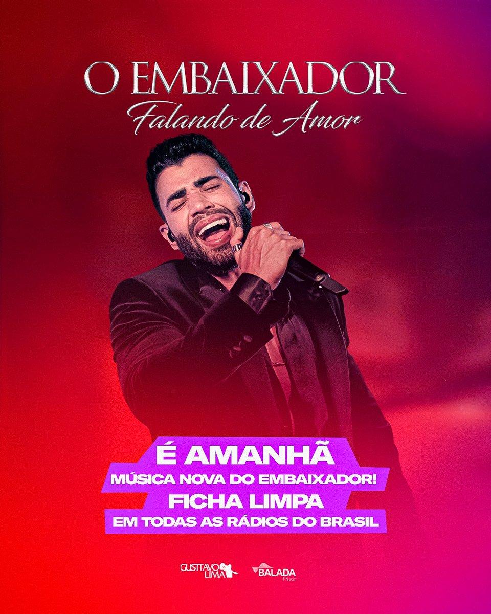 """Amanhã """"Ficha Limpa"""" estará nas rádios de todo o Brasil!! Aciona a tropa,bb!! Que a música nova do Embaixador chegou #FichaLimpaNasRádios https://t.co/F8UGNU1q1e"""