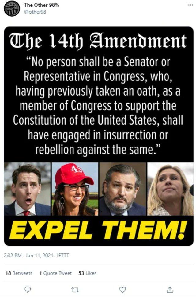 RT @Adenovir: Expel. Them. @tedcruz  @laurenboebert  @mtgreenee  @HawleyMO  #traitorsmustgo https://t.co/c2v1mOBkZa