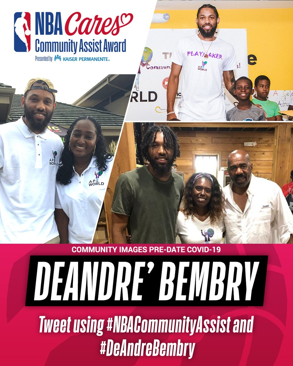 DeAndre' Bembry of the @Raptors has been nominated for the Seasonlong NBA Cares Community Assist Award pres. by @kpthrive!   To vote for DeAndre', retweet this post, or post with #NBACommunityAssist + #DeAndreBembry https://t.co/TG5kU5SIfW
