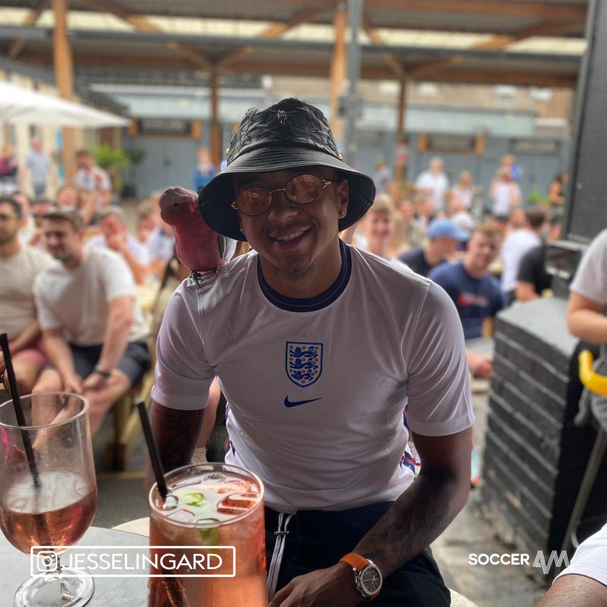 Jesse Lingard - England shirt on, parrot on shoulder and watching on from a beer garden 😍 https://t.co/PjLpWHmCF7