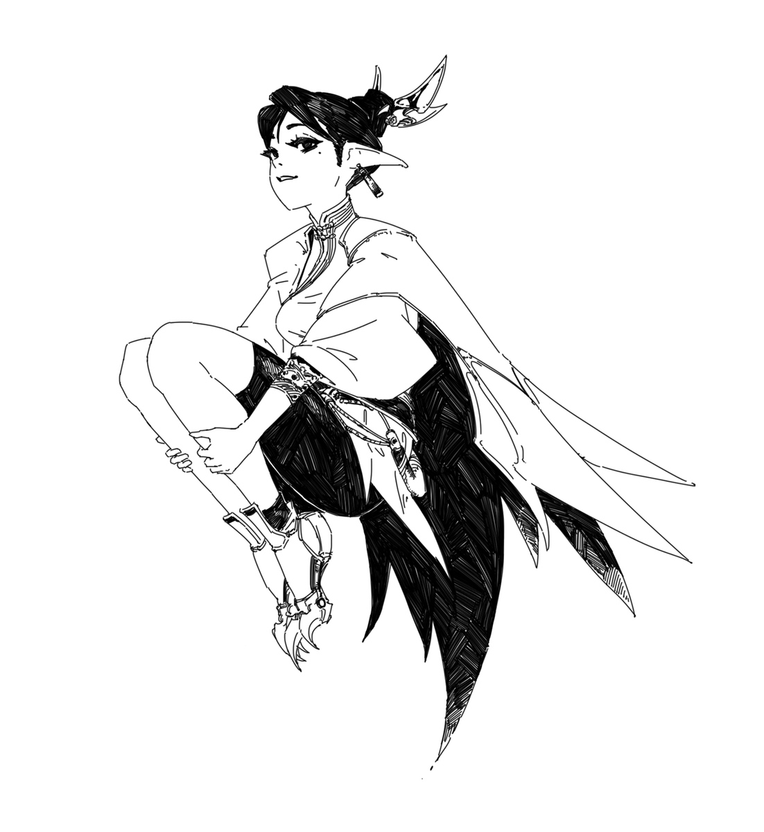 RT @666KArt: 253 daily sketch. bird princess https://t.co/ECuOZNQyox