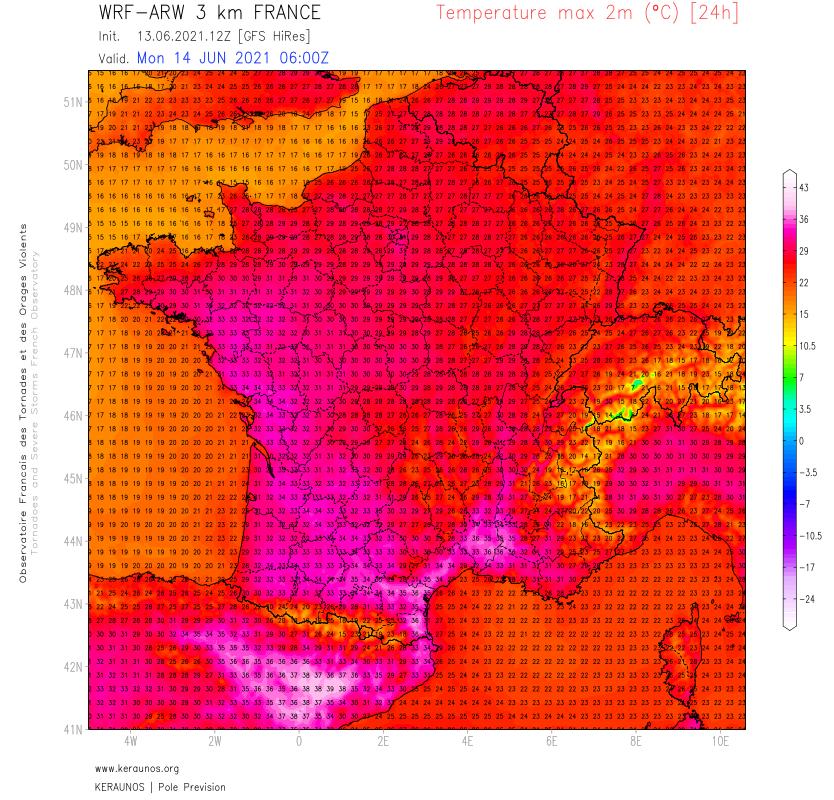 Demain lundi, maintien des très fortes chaleurs dans le sud-est avec parfois 36/38°C possibles dans l'intérieur entre Gard et #PyrénéesOrientales. Jusqu'à 33/34°C jusqu'à l'estuaire de la Loire. Le pic de chaleur national se produira mercredi avec parfois 35°C au nord.