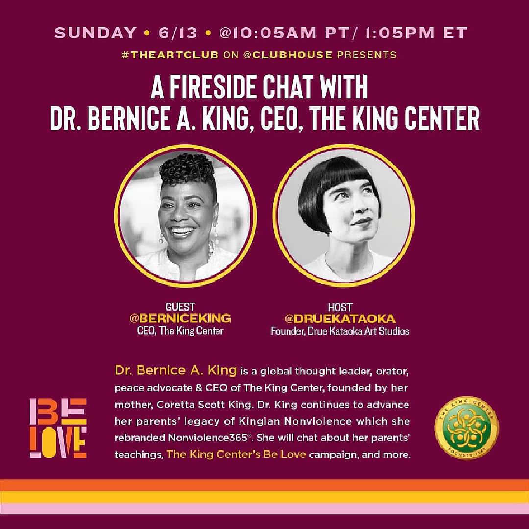 Happening TODAY on @Clubhouse at 1:05pm ET/10:05 am PT. Join me for a special fireside chat about #BeLOVE, #TheKingCenter, #MLK, #CorettaScottKing, #Nonviolence365, etc. Link: https://t.co/gXm12nEq0N https://t.co/K1H7jv4Yto
