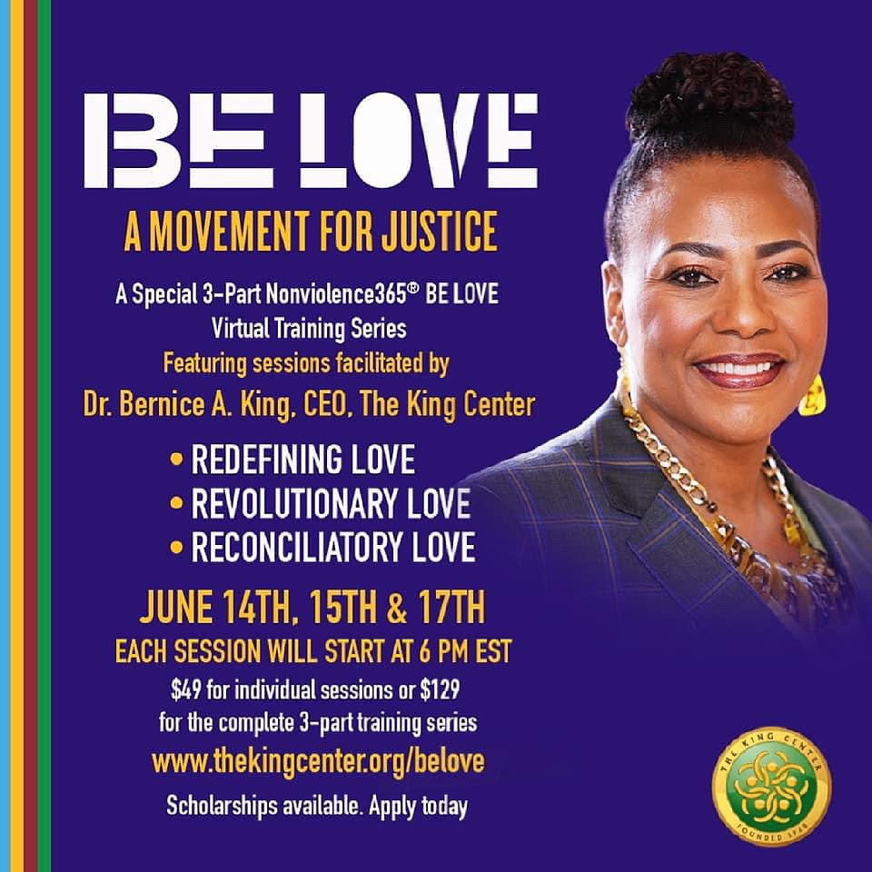 SERIES STARTS TOMORROW. King Center CEO, @BerniceKing, will facilitate sessions for our June 14th-17th #virtual #BeLove series! Register today: https://t.co/hs8yGjlzr3 #BelovedCommunity #MLK https://t.co/j8bDxntbaa