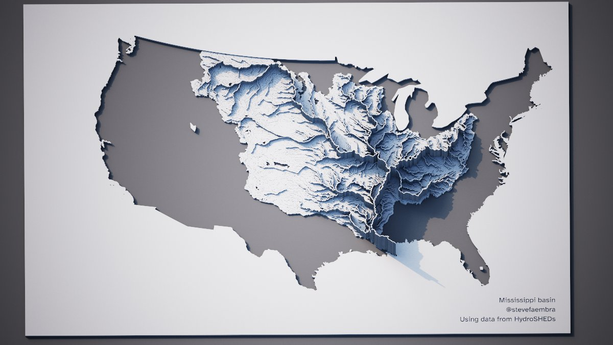 Mississippi watershed visualisation, AeriaLod. Data from HydroSHEDS.