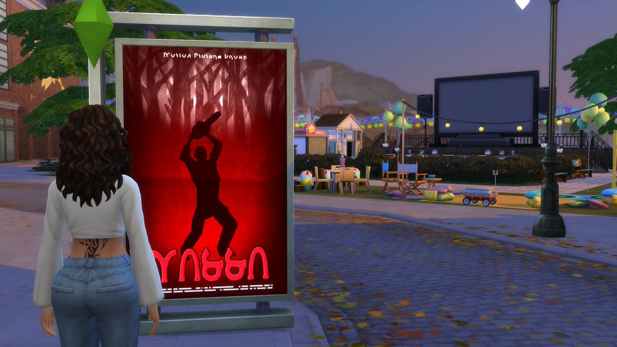 saw this movie poster as my Sim was walking through the city and got inspired to build an outdoor movie theater 📽️🎞️🌆 #Sims4 #ShowUsYourBuilds #CityLiving https://t.co/YzFzHZUcAQ