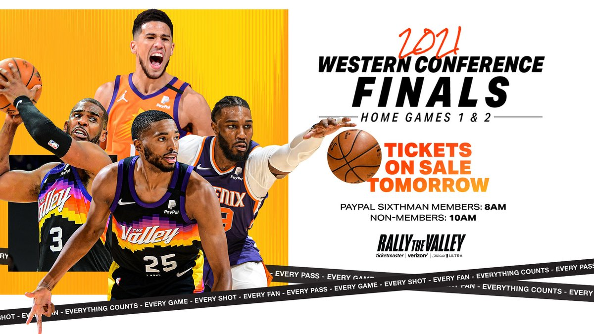 Your Suns are headed to the Western Conference Finals!   Tickets for home games 1 & 2 go on sale tomorrow morning!  𝐄𝐕𝐄𝐑𝐘𝐓𝐇𝐈𝐍𝐆 𝐂𝐎𝐔𝐍𝐓𝐒. #RallyTheValley https://t.co/IAZAmvdUQ4