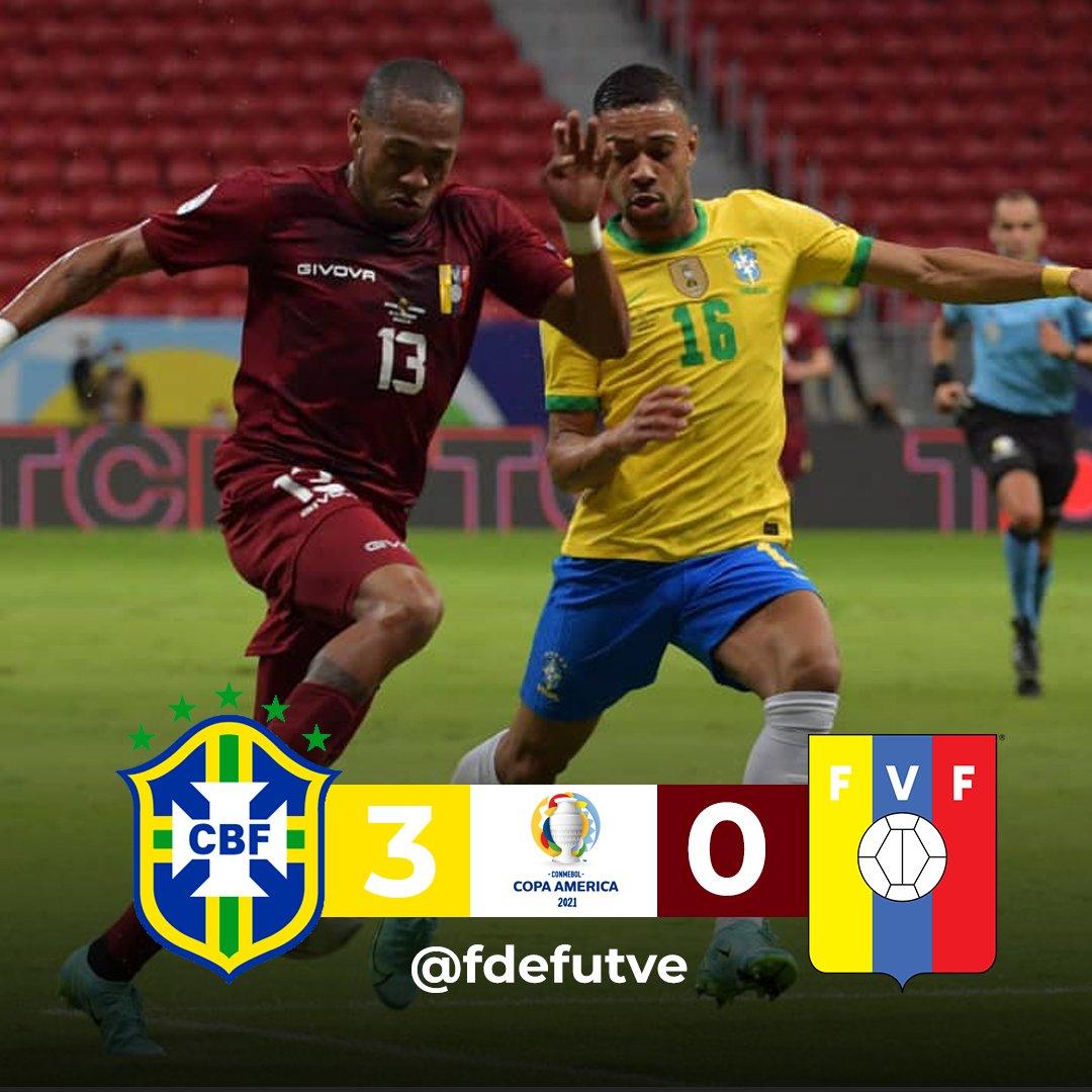 "F de FUTVE🇻🇪⚽ (🏡)'s tweet - ""#Vinotinto 🍷¦ FT: 🇧🇷BRASIL 3️⃣-0️⃣  VENEZUELA🇻🇪 La Vinotinto cayó derrotada, 3-0, frente a Brasil en la  jornada inaugural de la Copa América, disputado en el Estadio"