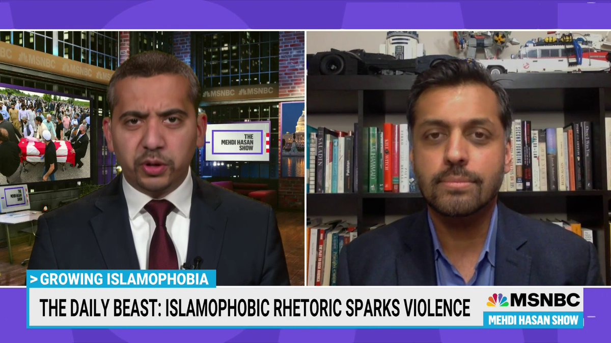 """Islamophobia isn't just a right-wing problem, @MehdiRHasan notes. Liberals have pushed dangerous anti-Muslim talking points. """"This hate unites bigots regardless of their ethnicity or their political allegiance,"""" @WajahatAli adds. """"I'll give you one quick example: """"Bill Maher."""" https://t.co/lwcO4CU1Hm"""
