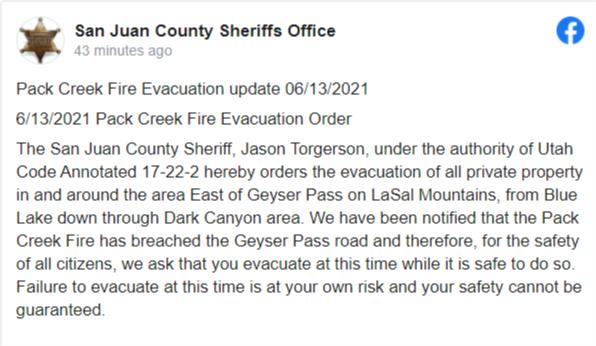 Text of evacuation order described above.