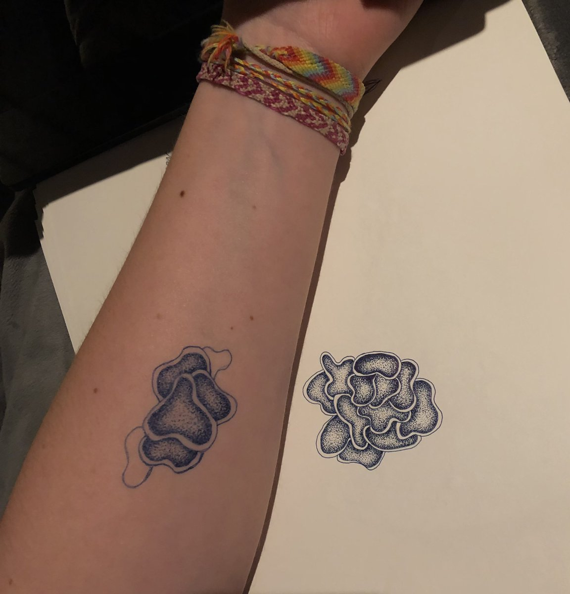 Sophie's arm is next to a doodle on a large sheet of paper. The doodle on both the paper in their arm is many overlapping blob shapes that are shaded with dots to make them appear somewhat 3D. A smaller version of the design is repeated on sophie's forearm.