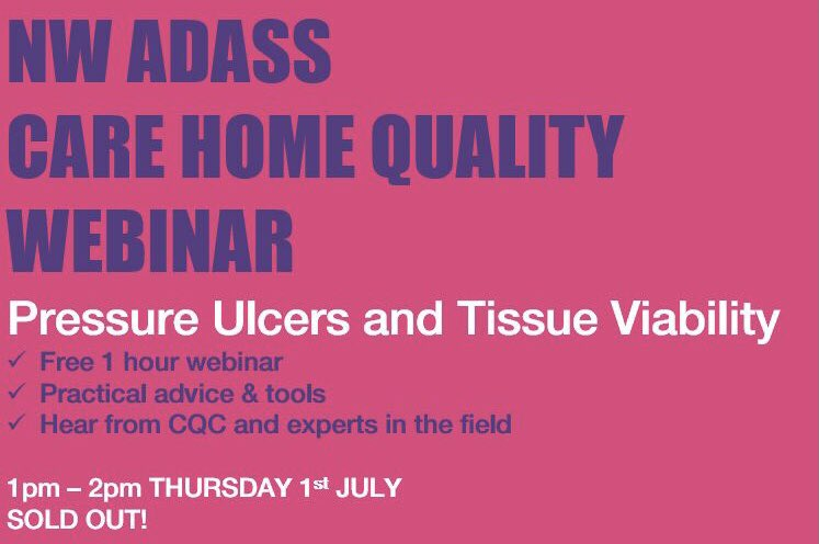 test Twitter Media - Looking forward to the first of our NW ADASS Care Home Quality webinars this Thursday, 1st July! Hope to see you there! #Pressureulcersandtissueviability #sellout https://t.co/SnM3f9KCLS